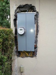 200Amp panel upgrade. Stucco paper to be repaire, caulked and made water tight before stucco repair